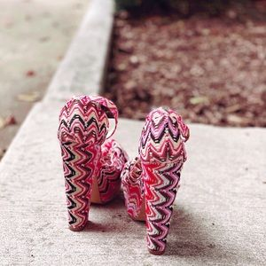 Pink & Yellow Missoni Print Ankle Strap Platforms